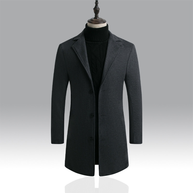Jacket Coat Business Wool Long-Trench Male Winter Men's Casual Fashion Single-Breasted title=