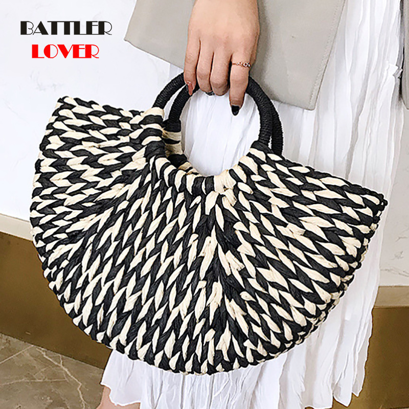 Handbag Females Big Travel Vacation Totes Bamboo Handbag For Ladies Handmade Woven Straw Beach Bag Summer Women