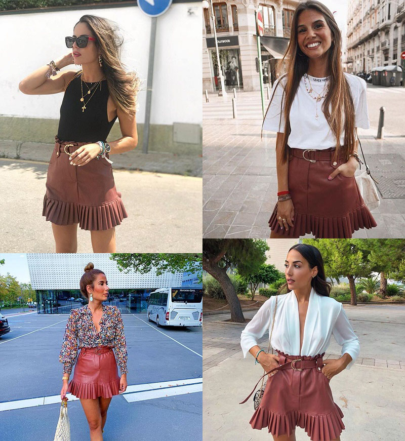 Stylish Chic Pu Leather Mini Skirt with Belt Za Fashion Women High Waist Pleated Hem Skirts Casual Streetwear Party Faldas 2