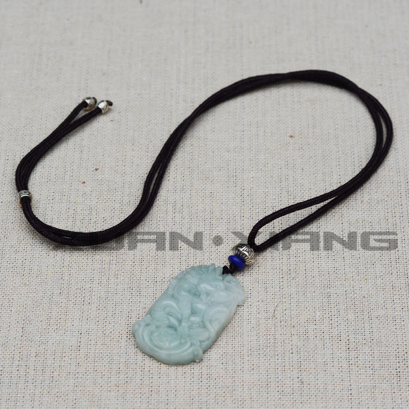 Drop Shipping Lover/'s Pendants Natural Jadeite Jade Pendant Necklaces Carved Dragon Phoenix  Love Fashion Jewelry Free Rope