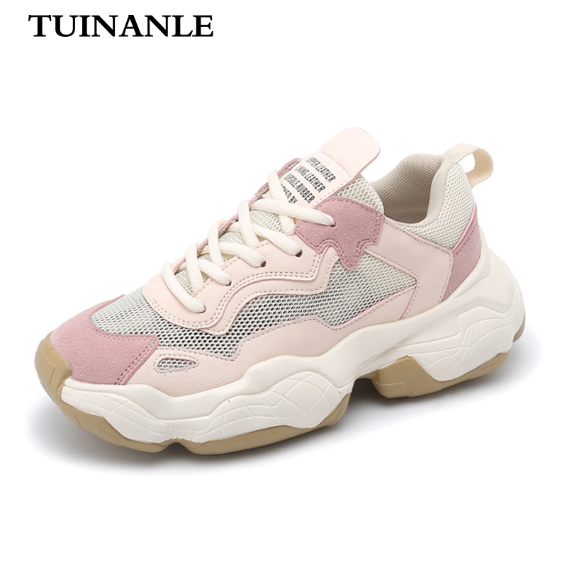 TUINANLE 2020 Platform Sneakers Pink Shoes Woman Sneakers Casual Patchwork Wedge Sneakers Women Shoes Ladies Spring/Autumn Shoes