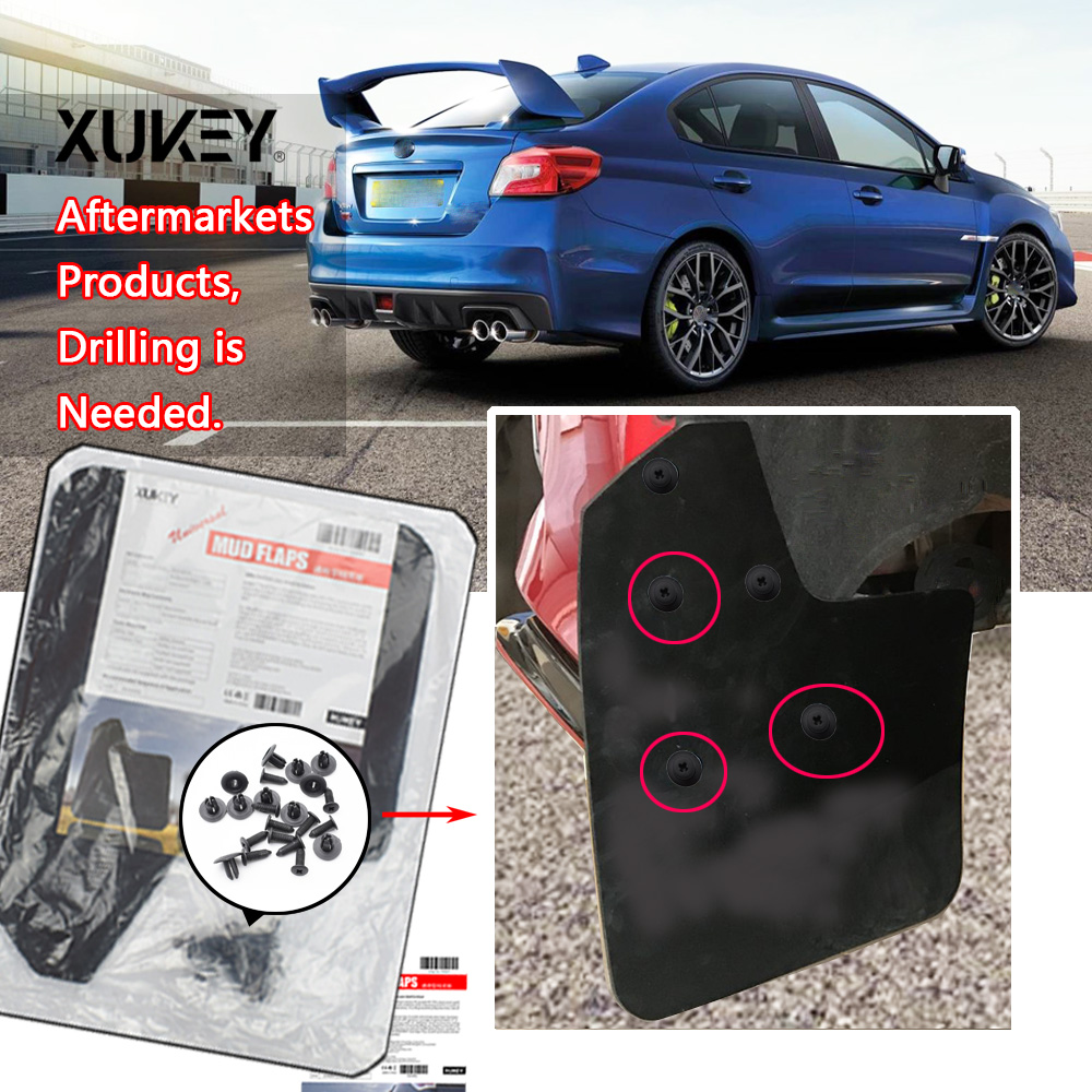 Black Rubber Car Mud Flaps with Water Channels For: SUBARU BRZ IMPREZA Front and Rear XtremeAuto/© Universal FORESTER LEGACY JUSTY LEVORG TRIBECA