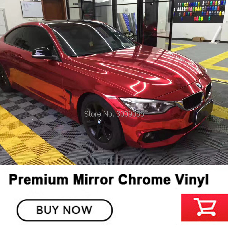 Best Quality Stretchable Mirror cherry red Chrome Wrap chrome vinyl wrapping low initial tack adhesive air release title=