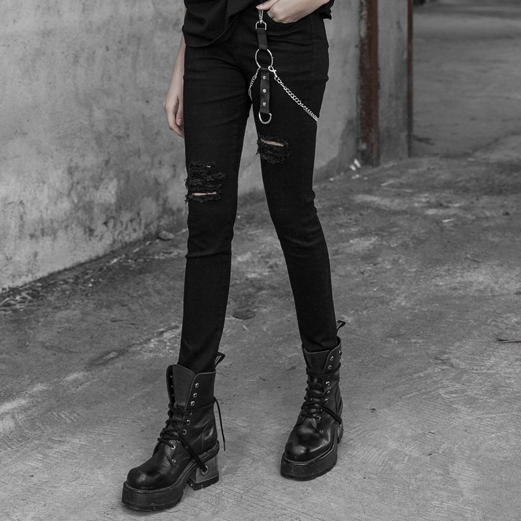 Machine Jeans Punk Rock Goth Biker Womens Stretch Skinny Jeans Black Denim NEW