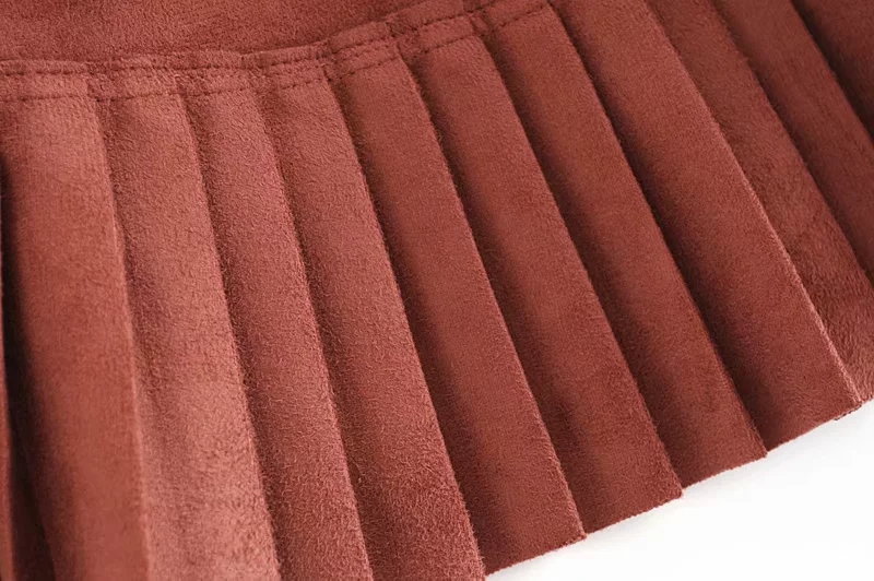 Stylish Chic Pu Leather Mini Skirt with Belt Za Fashion Women High Waist Pleated Hem Skirts Casual Streetwear Party Faldas 12