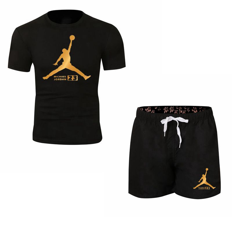 Jordaan Tracksuit Men Two Piece Set Short T-shirt Short Summer Gym Sport Cool