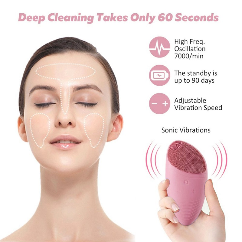 Skin - Silicone Face Cleansing Brush Electric Vibration Massage Waterproof Face Cleansing Tool Wash Face Brush Pore Cleaner