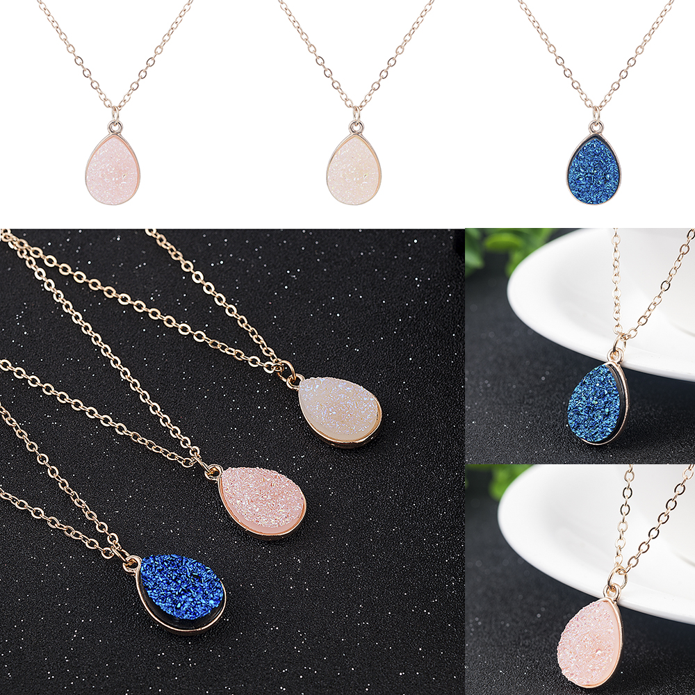 Collier Femme Charm Drop shape Stone Necklaces & Pendants for Women Crystal Bud Necklace Fashion Jewelry Kolye Collares 9
