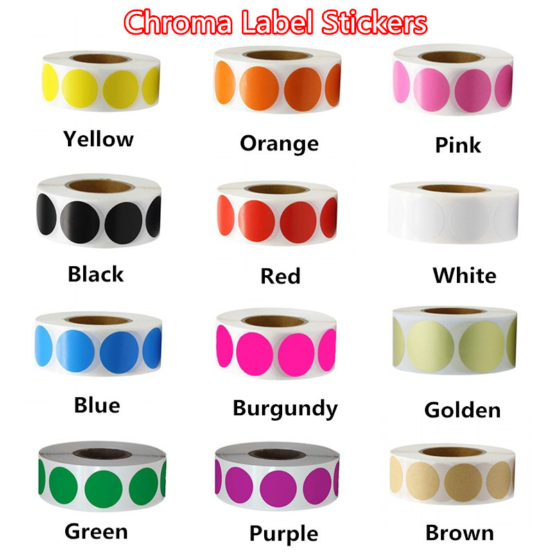 12 Colors 500Pcs/Roll Chroma Label Color Code Dot Labels Stickers Can Writing 1 Inch Teacher Office Supplies Stationery Sticker