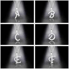 Silver Color 26 Letters Jewelry English Alphabe Necklaces for Women Choker A B C D E