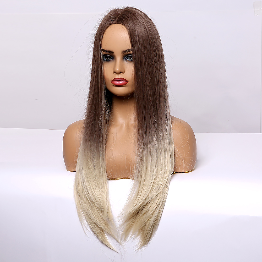 LOUIS FERRE Long Silk Straight Synthetic Wigs Brown Blonde Ombre Wigs for Black Women Middle Part Cosplay Heat Resistant Fibre