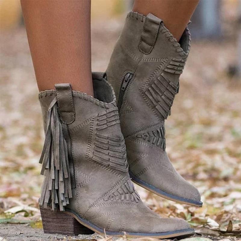 Women Mid-calf Boots Woman Vintage Tassel Shoes Women