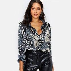 Женские блузки, сексуальная блуза с леопардовым принтом, рубашка с длинным рукавом, Офисная рубашка 2019, Модные осенние повседневные топы