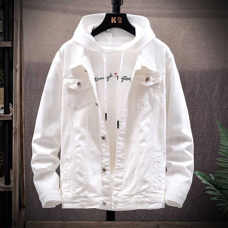 Men/'s Spring and Autumn Denim Jacket 2020 New Korean Trend Lapel Clothes White Yellow Best Free shipping Sale windbreaker