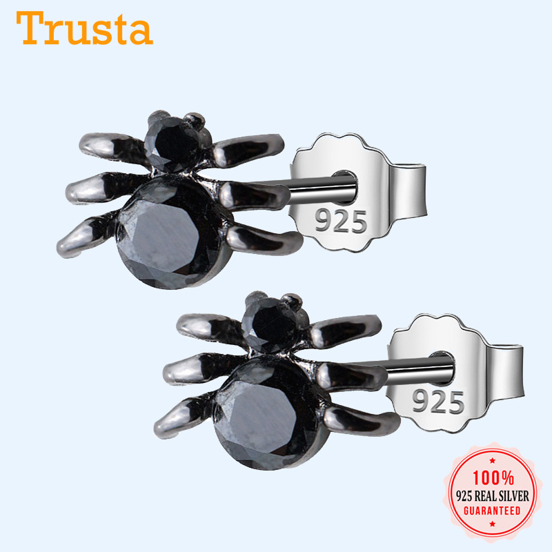 Girls Spider Colorful Ear Studs 925 Sterling Silver