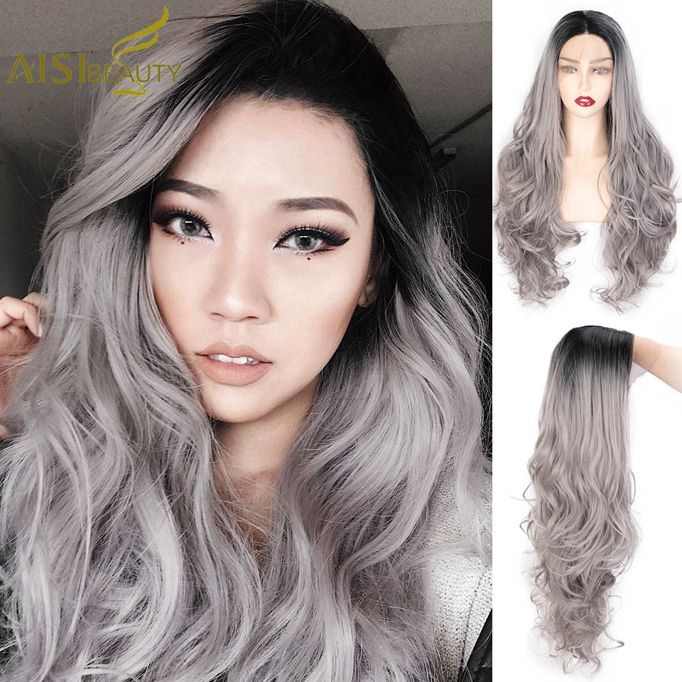 AISIBEAUTY Lace Front Wig Women/'s Long Wavy Grey/Blonde Wig Middle Part Synthetic High Temperature Hair for Africa American