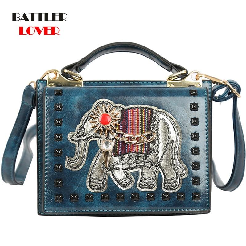 2019 Spring Brand Original Design Bags Elephant Animal Embroidery Rivet Fashion Ladies Handbags Women