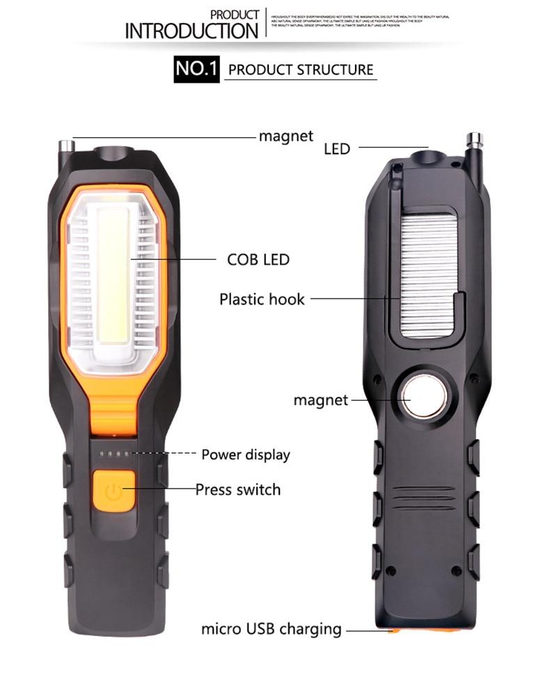 Foco LED Recargable Cob Led Luz De Trabajo Magn/ética Coche Garaje Mec/ánico Inicio L/ámpara De Antorcha Recargable Luz De Trabajo L/ámpara De Linterna Diodo Emisor De Luz