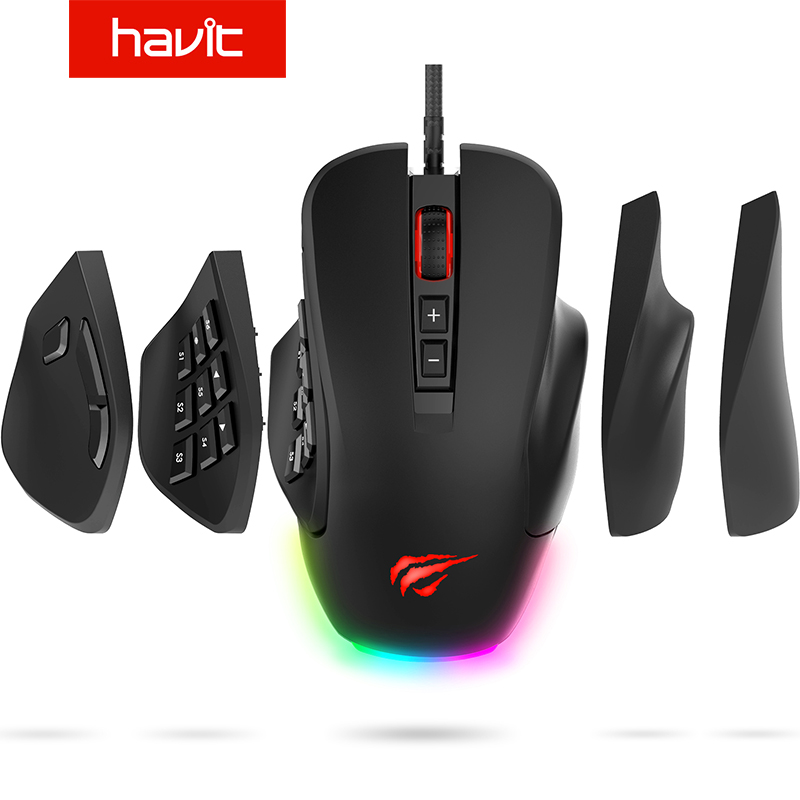 Havit Gaming Mouse 10000 DPI Wired Mice with 14 Programmable Buttons Interchangeable Side Plates , 2 Replaceable Right Plates title=