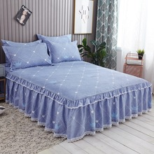 Lanke-Sanding-Bedspread Cover Bed-Skirt Floral-Fitted-Fitted-Sheet Lace Hotel Home