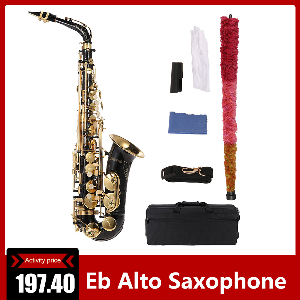 Ammoon Alto Saxophone Woodwind-Instrument Cleaning-Brush Key-Type Lacquered Eb Gold-E title=