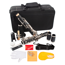 Clarinet Bb Woodwind-Instrument ABS Nickel 17 with Cleaning-Cloth-Gloves Screwdriver