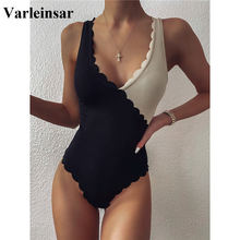 One-Piece Swimsuit Ribbed Beige Black Female High-Cut Splicing Women V2425 Scalloped