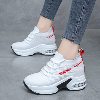 Platform Sneakers Shoes white Breathable Casual Shoes Woman Fashion Height Increasing Ladies Shoes Chaussure Femme 2021
