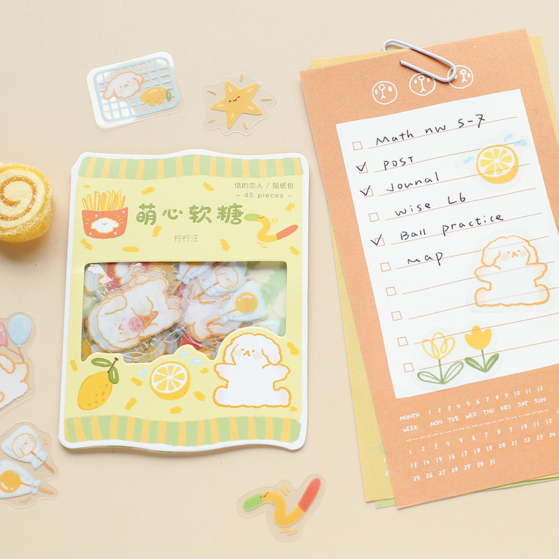 45 pcs/pack Cute Candy Series Journal Decorative Stickers Scrapbooking Stick Label Diary Stationery Album animal cat Stickers