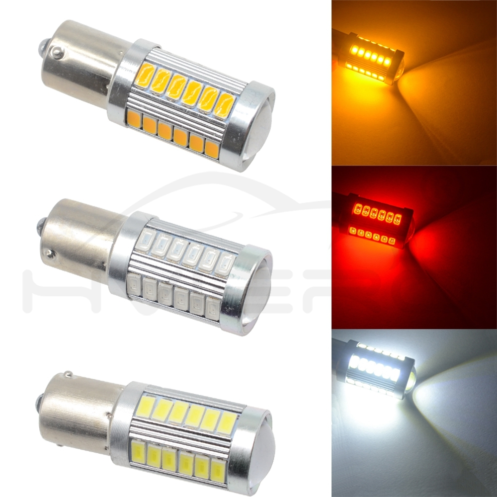 Hviero 2X White Red 1156 BA15S 1157 BAY15D P21 5W 33SMD 5730 LED Car Brake Lights Tail Lamp Signal Auto Led Rear Reverse Bulbs DRL Led