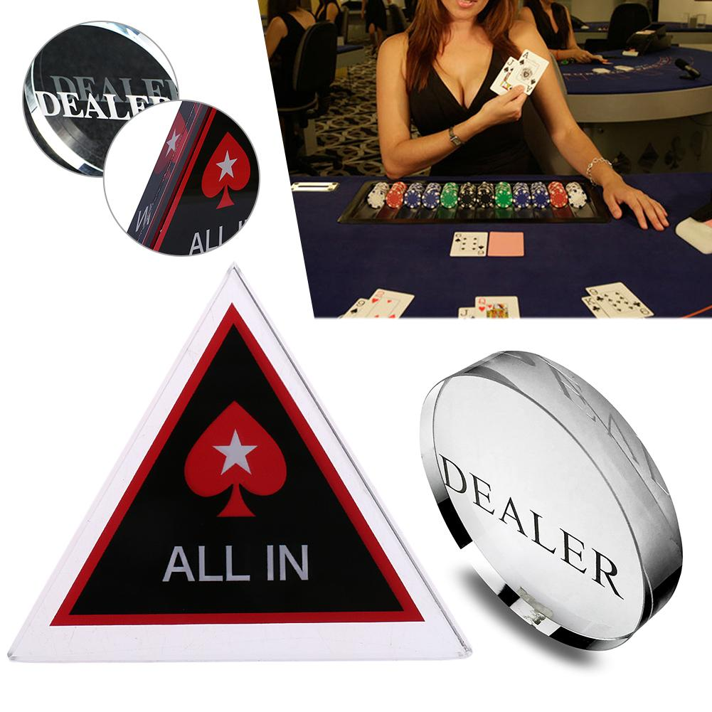 Acrylic Texas Hold/'em Poker Chip All-in Button Party Card Game Casino Tool