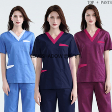 Costume Scrub-Set Workwear Cotton-Uniforms Dentist Short-Sleeve V-Neck Vet Big-Pockets
