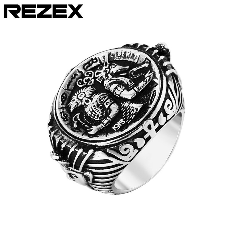 Retro-Ring Guardian Creatures Angel-Anubis Egypt Pharaoh Hf480 Titanium-Steel Mythical title=