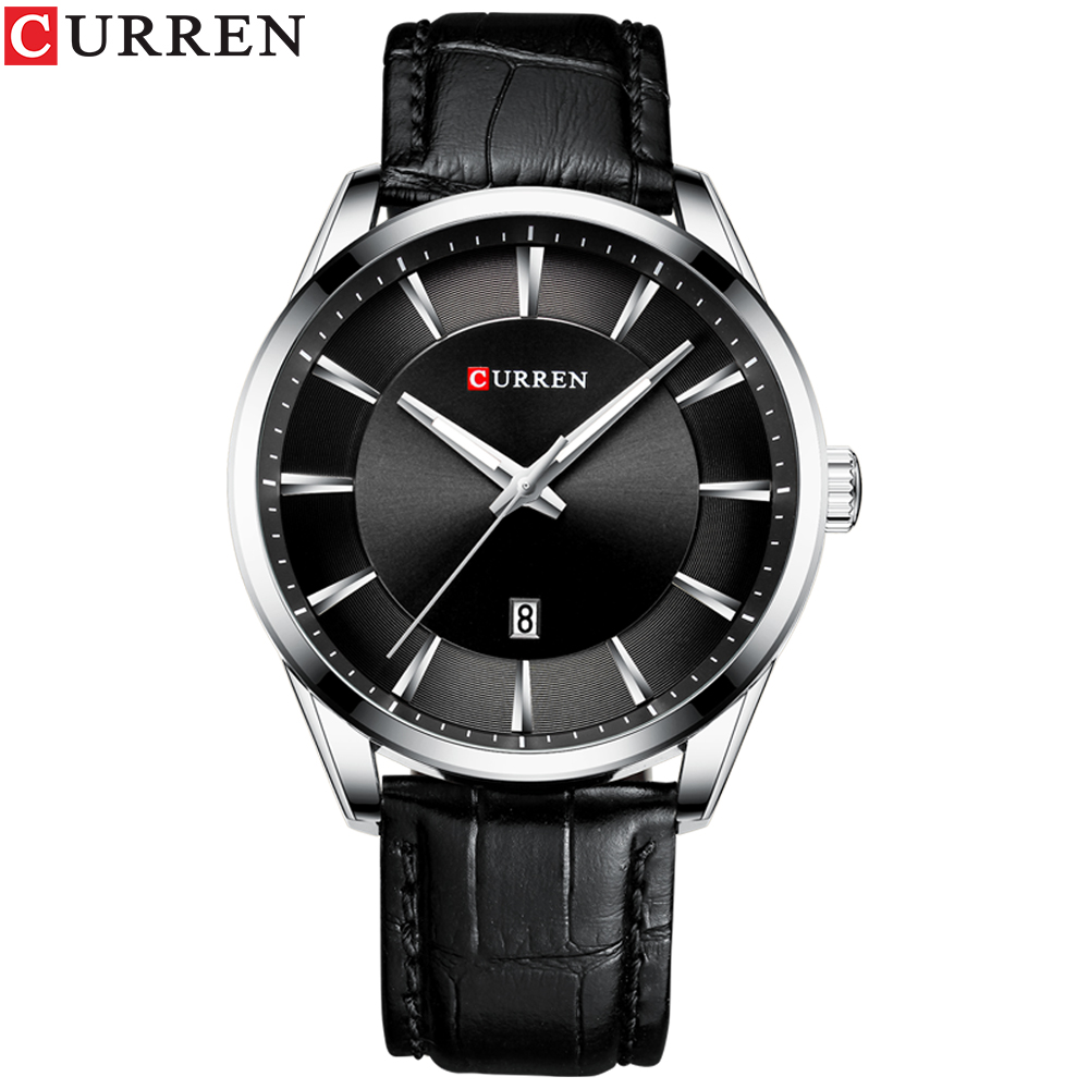 CURREN Quartz Watches for Men Leather Strap Male Wristwatches Top Luxury Brand Business Men's Clock  45 mm Reloj Hombres