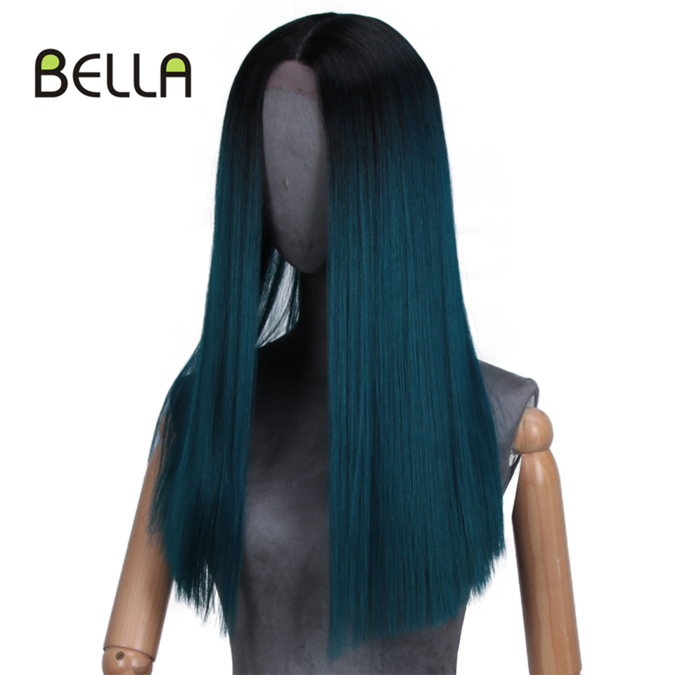 Bella Long Straight Ombre Blue&Green Pink Heat Resistant Synthetic Wigs For Women 20 inch Purple Black Blue hairpiece 7 colors