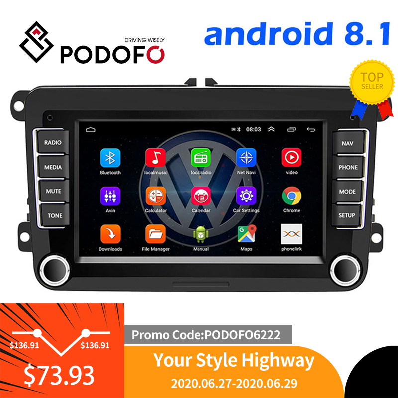 Podofo 2Din Android Car Radio GPS 2din Car Multimedia Player Autoradio For VW/Volkswagen/Golf/Passat/SEAT/Skoda/Polo car Stereo