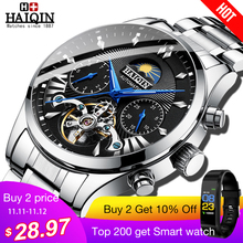 HAIQIN Luxury Watches Sport-Wristwatch Tourbillon Top-Brand Mens Reloj Hombre