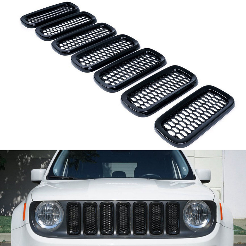 Car Front Grille Inserts Mesh Grill Accessories for Jeep Renegade 2015-18 Black