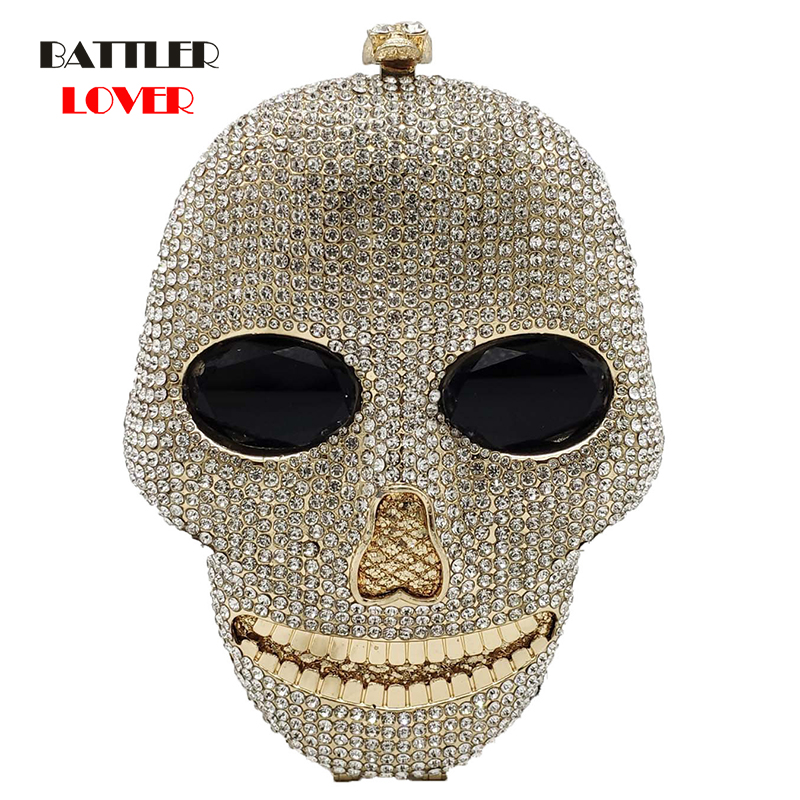Bags for Women 2020 Fashion 3D Skull Face Shape Women Evening Handbags and Purses Party Cocktail Ladies Crystail Clutch Bag