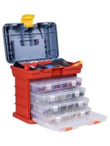 NEWACALOX Storage-Box Case Hardware Toolbox Screw Locking-Handle Outdoor-Tool Plastic
