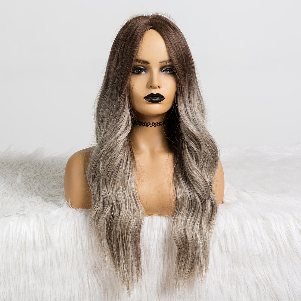 Long Water Wavy Synthetic Wigs Ombre Brown Middle Part Natural Hair Wigs For Women Cosplay Wigs Heat Resistant Fiber