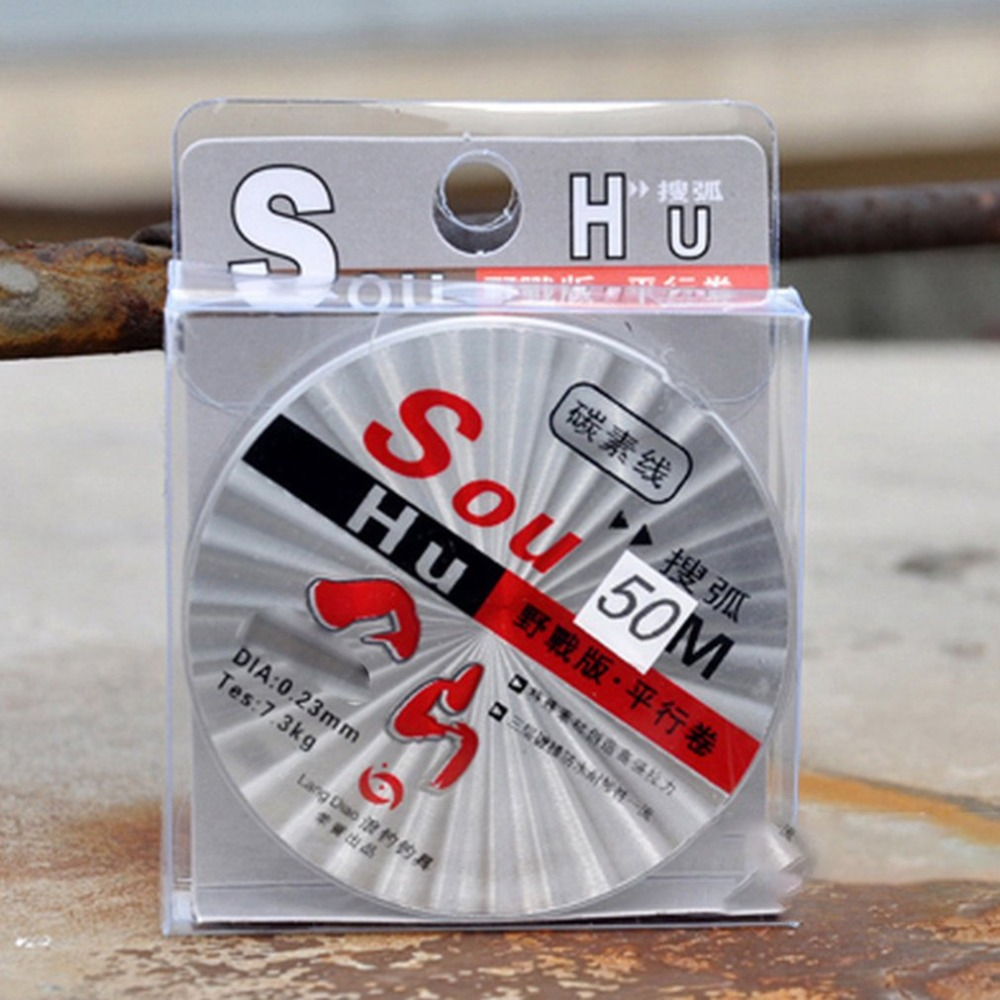 SOHU Fluorocarbon Fishing Line 50m Transparent Super Strong title=
