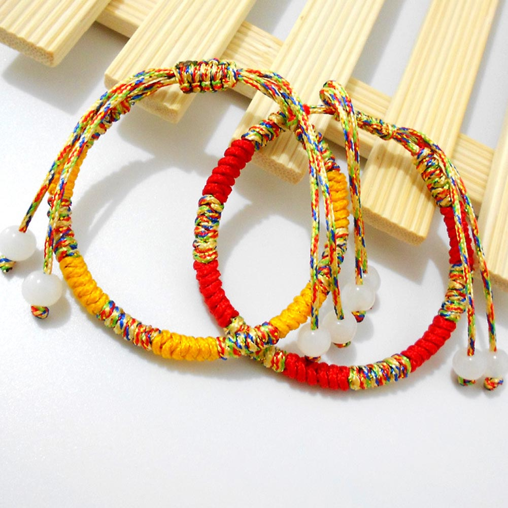 Bohemia Rainbow Handmade Weave Woven Braided Rope Thin String Strand Friendship Bracelet
