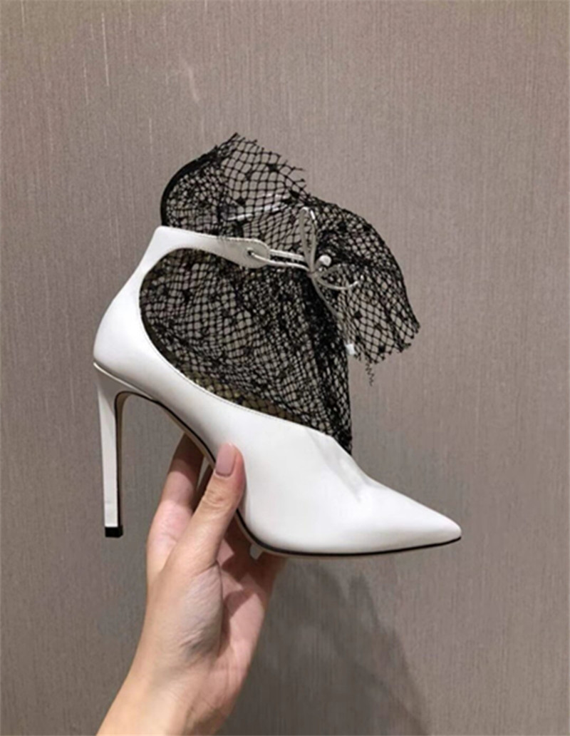 Spring Summer 2020 New Pumps Shoes Woman Sexy Pointed Toe V-Mouth Stilettos Mesh Hollow Skinny Lady Ankle Boot Fairy High Heels (7)
