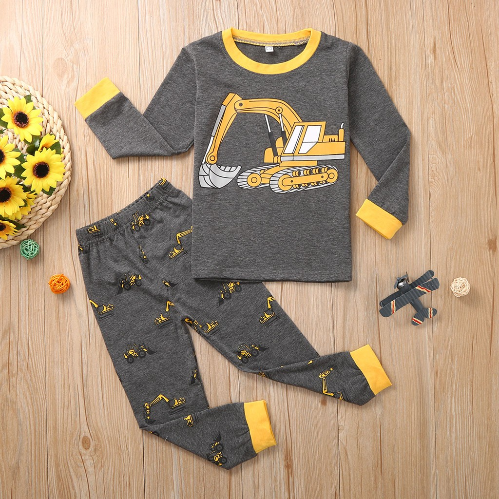 Blouse Pajamas Long-Sleeve Baby-Boys Children Cartoon Pants Autumn Print Outfit-Set Tops title=