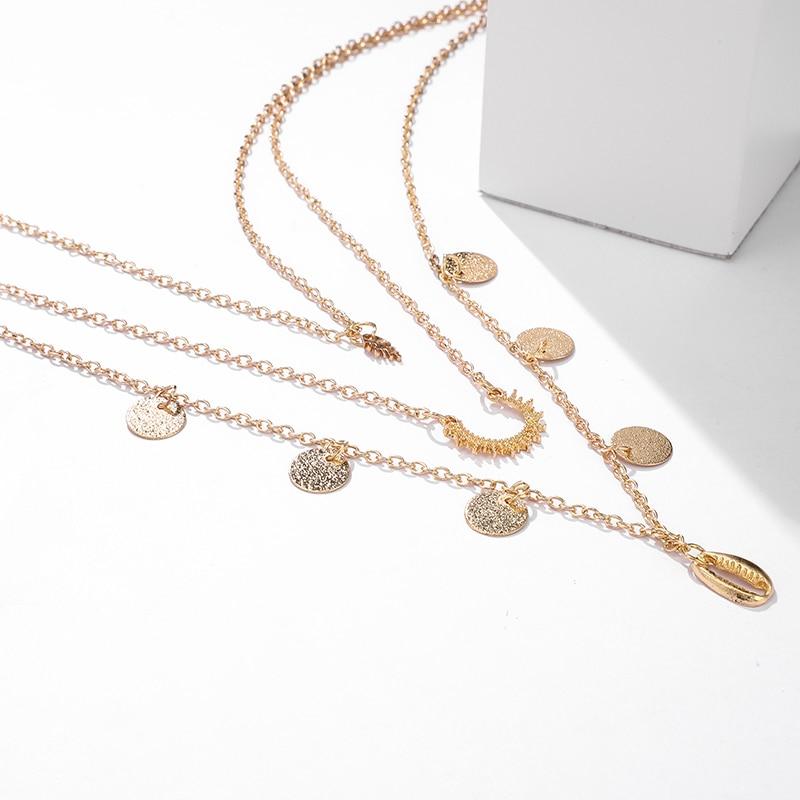 1pc Fashion Women Boho Geometric Circle Shell Pendant Chain Multilayer Necklace Jewelry Gift 2 Styles