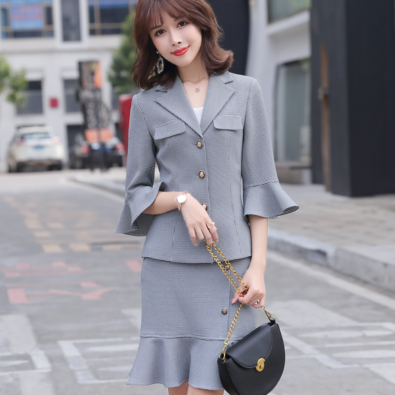 Fashion professional plaid pant suits 2020 new summer casual women half sleeve slim blazer and pants office ladies work wear