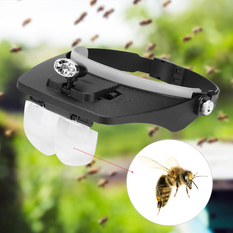 1x Beekeeping Bee Moving Magnifying  Head-mounted Magnification Mirror Lens