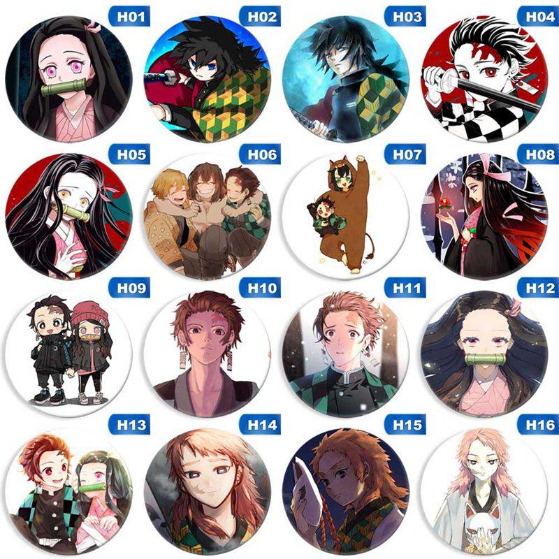Anime Demon Slayer: Kimetsu no Yaiba Costumes Badge Kamado Tanjirou Cosplay Cartoon Collect Backpacks Bags Button Brooch 5.8cm
