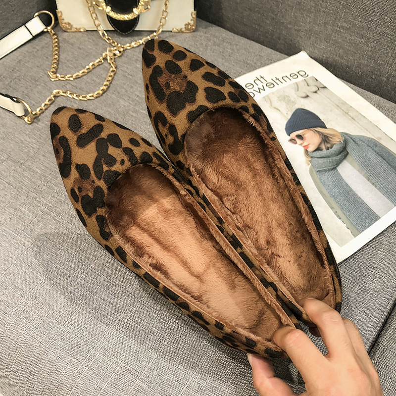 Silentsea Flats Loafers Shoes Pointed-Toe Leopard Slip-On Women Larger-Sizes Mouth Shallow